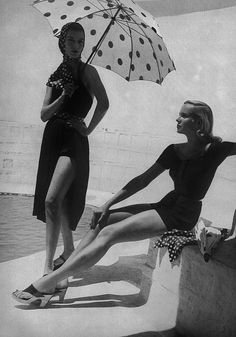Harper's Bazaar, 1952 | fashion editorial | 1950s | spots | polka dots | black & white | www.republicofyou.com.au
