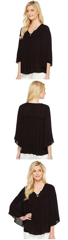 Karen Kane Women's Lace-Up Bell Sleeve Top Black Shirt
