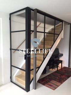 Steel doors with glass and steel stairs- Stalen deuren met glas en stalen trappe. Steel doors with glass and steel stairs - Steel doors with glass and steel stairs SteelLife by Roukens - Steel doors Stairs And Doors, House Stairs, Attic Stairs, Railing Design, Staircase Design, Interior Stairs, Home Interior Design, Steel Stairs, Modern Stairs