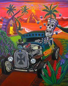 Cartoon Kunst, Cartoon Art, Tiki Decor, Apple Watch Wallpaper, Tiki Lounge, Tiki Art, Hawaiian Art, Octopus Art, Black Light Posters