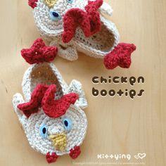 Chicken Rooster Cockerel Cock Baby Booties 2 Crochet