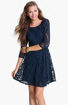 Fire Lace Skater Dress (Juniors) available at #Nordstrom-Navy Blue ...