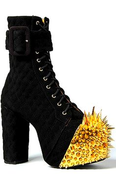 Jeffrey Campbell. Black boots with gold toe spikes. Right.