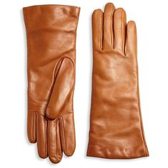 Saks Fifth Avenue Collection Cashmere-Lined Leather Gloves ($110) ❤ liked on Polyvore featuring accessories, gloves, apparel & accessories and leather gloves