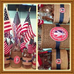 Sandy Tribble created these patriotic burlap mason jars filled with natural moss and we couldn't love them more!