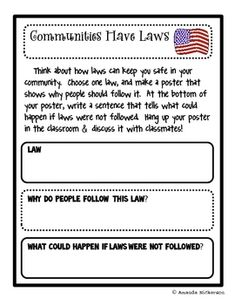 Encourage your students to think about our laws, the reasons they exist, and consequences for infractions through this activity. Use the planning . 3rd Grade Social Studies, Social Studies Classroom, Social Studies Activities, Teaching Social Studies, Classroom Fun, Social Studies Communities, Rules And Laws, Project Based Learning, Social Science