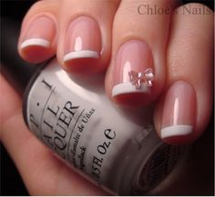 Classic French Mani with a Bow