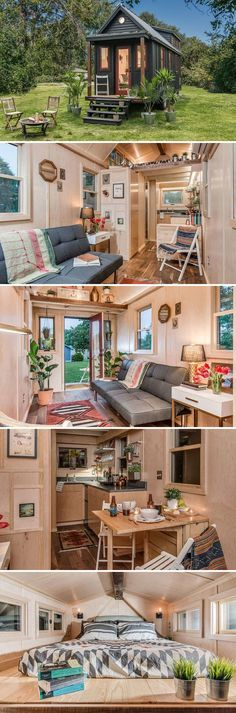 A Scandinavian-inspired tiny house built on a 8.5' x 24' trailer giving it 204 sq.ft. downstairs and an additional 42 sq.ft. of loft space.: