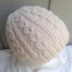 Aran hand knit beanie – Womens wool mix hat – Chunky knit beanie – Cream knit hat – Teens wool mix hat – Gift for her - women hats Baby Hats Knitting, Knitted Hats, Crochet Flower Headbands, Knitted Bunnies, Knitting Patterns, Crochet Patterns, Headband Pattern, Christmas Knitting, Toddler Headbands
