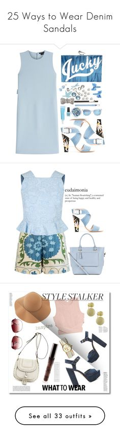 """""""25 Ways to Wear Denim Sandals"""" by polyvore-editorial ❤ liked on Polyvore featuring waystowear, DenimSandals, Theory, Fendi, KOTUR, Rimmel, Topshop, Taylor Morris, monochrome and Blue"""