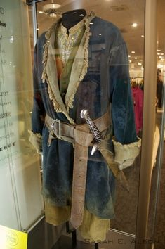 Bilbo Baggins costume in Wellington, New Zealand. It's even got sting! For more pictures about the Hobbit movie costumes trail check out the original article at Albom Adventures.