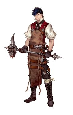 Male human hammer fighter - pathfinder pfrpg dnd d&d fantasy steamp Fantasy Male, Fantasy Warrior, Fantasy Rpg, Fantasy Artwork, Fantasy Character Design, Character Creation, Character Concept, Character Art, Dungeons And Dragons Characters