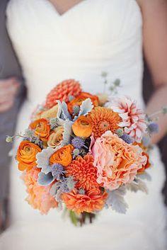 I'm not starting a wedding board, I just really like these flowers. Orange Dahlia, Orange Ranunculus, Pink Peony, Dusty Miller Bouquet