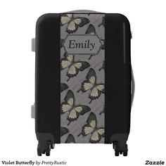Violet Butterfly Personalized Luggage