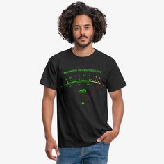 musiccorner - music t-shirts hoodies pullover | Techno ist nie zu laut - Analog dB VU Meter - Männer T-Shirt Baseball T Shirts, Boys Shirts, T Shirts For Women, T Shirt Long, Love T Shirt, Long Sleeve Shirts, T Shirt Vintage, Vintage T-shirts, Sweat Shirt