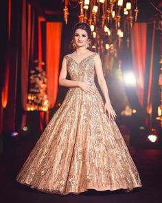 Stunning Gowns Real Brides wore instead of Lehenga for Reception Wedding Reception Gowns, Indian Wedding Gowns, Indian Gowns Dresses, Indian Bridal Outfits, Bridal Gowns, Bridal Lehenga, Wedding Dresses, Wedding Bride, Indian Reception