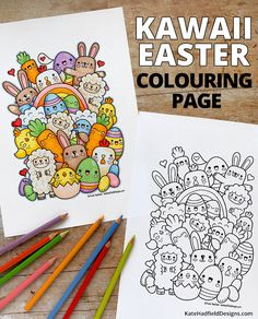 Kawaii Easter colouring page - Kate Hadfield Designs Cute Doodle Art, Doodle Art Designs, Doodle Art Drawing, Cute Art, Art Drawings Sketches Simple, Kawaii Drawings, Cute Drawings, Kawaii Doodles, Cute Doodles