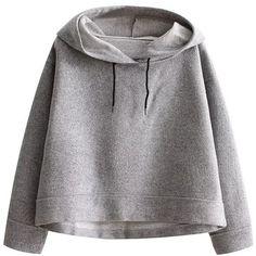 Grey Crop Hooded Loose Sweatshirt ($39) ❤ liked on Polyvore featuring tops, hoodies, sweatshirts, clothing - hoodies, pullover hoodie, grey hooded sweatshirt, pullover hoodie sweatshirt, long sleeve pullover and grey hoodie