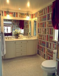 """Library bathroom with wallpaper by Kohl's - """"Memoirs"""""""