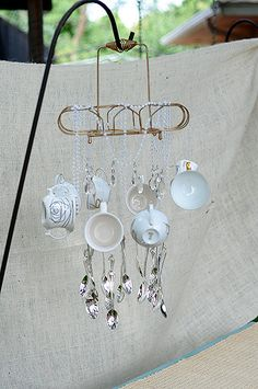 Vintage Mad Hatter Tea Party, for Bridal Shower | secondhand tea cups and silverware made into a chandelier | Champagne Kaleidoscope