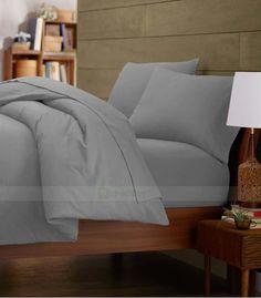 Pewter Double Egyptian Cotton Quilt Duvet Cover + Sheet Choice - 1000TC Double Duvet Covers, Single Duvet Cover, King Duvet, Queen Duvet, Grey Duvet, Egyptian Cotton Bedding, Quilt Cover Sets, Cotton Quilts, Twin