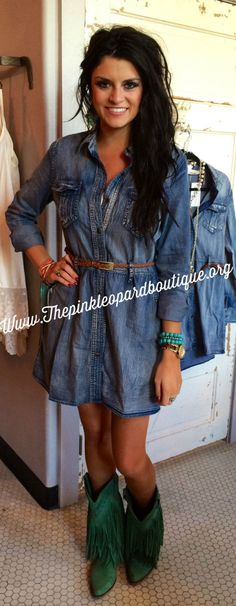 Distressed Blue Jean Dress www.thepinkleopardbouti
