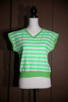 763713a174 Awesome vintage lime green striped sweat top. Etsy Vintage ...