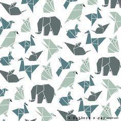 Origami animals pattern illustration                                                                                                                                                                                 More
