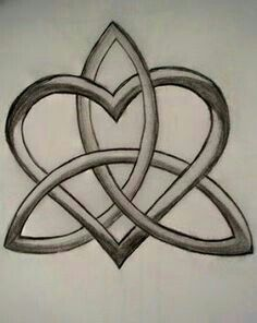 Celtic Sister Tatoo. My sister and I both have this tat on our left forearm. Her heart is purple as that is my favorite color. My heart is blue as that is her favorite color. The Celtic is completed with our favorite colors.