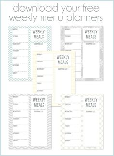 Weekly menu planners