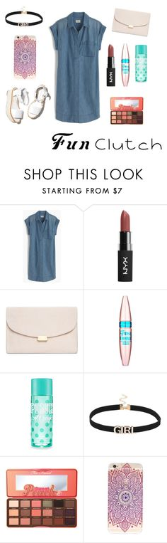 """fun clutch"" by andisasha ❤ liked on Polyvore featuring J.Crew, Paloma Barceló, Mansur Gavriel, Maybelline and Too Faced Cosmetics"