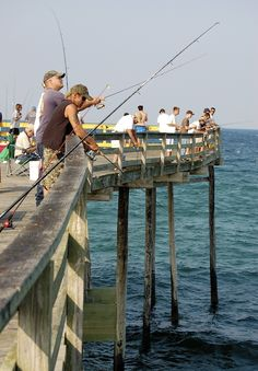 Fishing off the Pier  Nags Head NC - WOW the memories - right about where my grandfather fished from 4am till 11pm....breaking only for breakfast and dinner with the family. I had to walk out and get him many times. Oh how he loved THAT pier !!