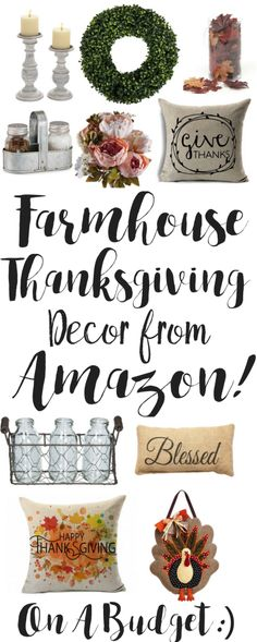 Farmhouse Thanksgiving Decor from Amazon. On a Budget. I love Farmhouse Decor. Free Shipping on most with Amazon Prime. I love Amazon because I can have things shipped to my door for FREE in 2days with my Prime membership.