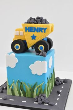 truck cake dumpster rocks blue road boy cake