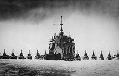 USNavy Submarines nest alongside tender for replenishing in Tanapag Harbor, Saipan, November 11,1944. Vessels (left/right) USS Salmon, USS ...