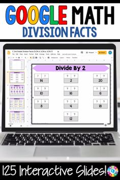 """LOVE THE VARIETY FOR PRACTICING DIVISION FACTS!"" With this 125-slide digital resource for Google Slides, your students will practice solving basic division facts and finding the unknown in a division sentence. Students will love interacting with the movable pieces and typing their responses on these slides!"