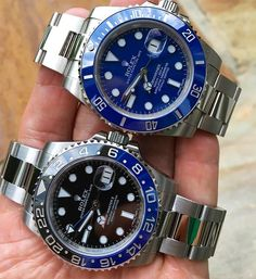 Batman & Smurf 116710 BLNR Rolex GMT Master II 116619 LB WhiteGold Rolex Submariner Which one would you choose?!? By: @gmtsandsubs by thewatchlovers #rolex #submariner