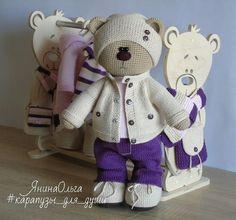 Ольга Янина Teddy Bear Knitting Pattern, Knitted Teddy Bear, Crochet Bunny, Crochet For Kids, Crochet Toys, Crotchet Animals, Knitted Animals, Crochet Dolls Free Patterns, Crochet Doll Pattern
