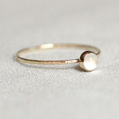SOLID 14k Gold Moon Orb Ring Simple and Tiny SOLID by MARYJOHN