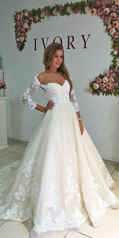 long sleeve off the shoulder lace fashion wedding dresses by milla nova