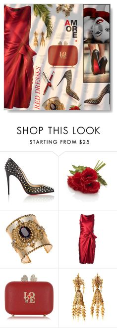"""""""Amore In Red..."""" by desert-belle ❤ liked on Polyvore featuring Christian Louboutin, Crate and Barrel, Thot, Lanvin, Love Moschino, women's clothing, women, female, woman and misses"""