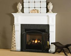 For a modern look, choose the Carrington Wood Fireplace Mantel - shown here in Poplar Wood with White finish.