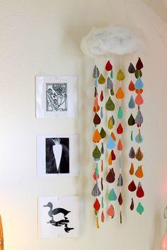 DIY raindrop mobile