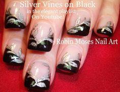 Nail Art Tutorial | DIY Black & Silver French Manicure | Easy Glitter Na...