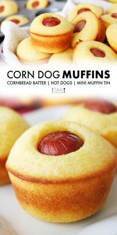 Dog Muffin Recipe, Recipe For Muffins, Recipe For 2, Appetizer Recipes, Snack Recipes, Appetizers For Kids, Oven Recipes, Corndog Recipe, Gourmet