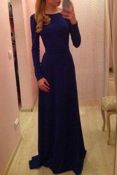 Amazing Long Sleeve Blue Round Neck High Waist Dress - i love it Maxi Dress With Sleeves, Dress Skirt, Dress Up, Bridesmaid Dresses, Prom Dresses, Formal Dresses, Cheap Dresses, Pretty Dresses, Beautiful Dresses