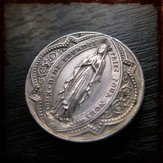 Antique Religious French Silver Religious Medallion with Virgin Mary - Vintage Jewelry from France