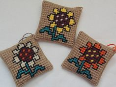 Sunflower Pillow Ornaments in Needlepoint by BunniesMadeOfBread