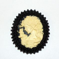 Greek Maiden Black Background Cameo Brooch or Pendant Black Hand Beading Pin or Necklace (16.95 USD) by OldAgeElegance