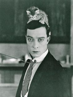 Buster Keaton With A Deadpan Look On His Face Plus A Kitten On His Head - Lomography